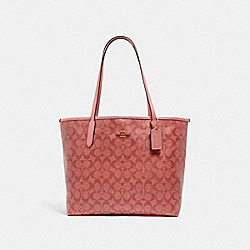 COACH 5696 - CITY TOTE IN SIGNATURE CANVAS IM/CANDY PINK