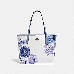 CITY TOTE IN SIGNATURE CANVAS WITH KAFFE FASSETT PRINT - 5698 - SV/CHALK MULTI/PERIWINKLES