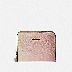 COACH 57093 Small Zip Around Wallet With Ombre GD/PINK MULTICOLOR