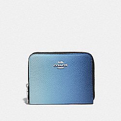 COACH 57093 Small Zip Around Wallet With Ombre SV/BLUE MULTICOLOR