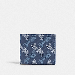 COACH 570 - ID BILLFOLD WALLET WITH HORSE AND CARRIAGE PRINT QB/INDIGO MULTI