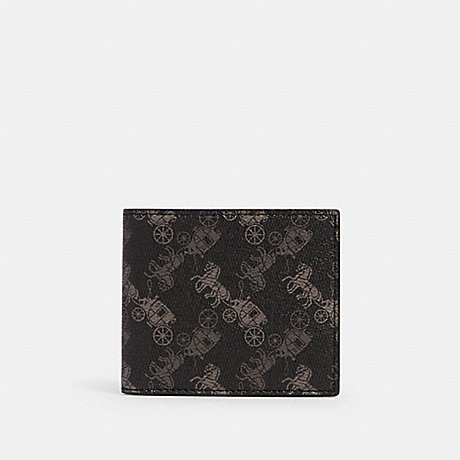 COACH 570 ID BILLFOLD WALLET WITH HORSE AND CARRIAGE PRINT QB/BLACK MULTI