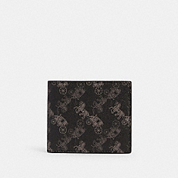 COACH 570 - ID BILLFOLD WALLET WITH HORSE AND CARRIAGE PRINT QB/BLACK MULTI