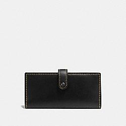 COACH 57197 Slim Trifold Wallet BLACK/BLACK COPPER