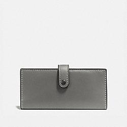 COACH 57197 Slim Trifold Wallet HEATHER GREY/BLACK COPPER