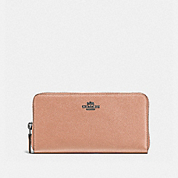 COACH 57713 Accordion Zip Wallet DARK BLUSH/DARK GUNMETAL