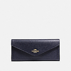 SOFT WALLET - GOLD/NAVY - COACH 57715