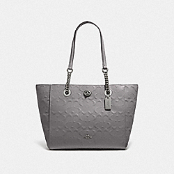 TURNLOCK CHAIN TOTE 27 IN SIGNATURE LEATHER - 57732I - DK/HEATHER GREY