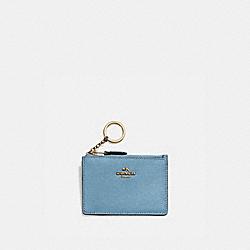 COACH 57841 Mini Skinny Id Case BRASS/PACIFIC BLUE