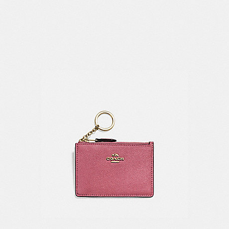 COACH 57841 MINI SKINNY ID CASE GOLD/DUSTY PINK