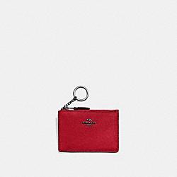 COACH 57841 Mini Skinny Id Case GUNMETAL/RED APPLE
