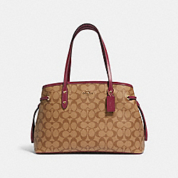 COACH 57842 - DRAWSTRING CARRYALL IN SIGNATURE CANVAS IM/KHAKI DARK BERRY