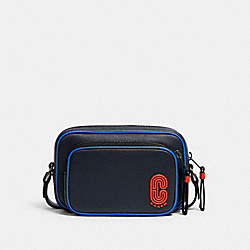 COACH 5797 Mini Edge Double Pouch Crossbody With Coach Patch QB/BLUE MULTI