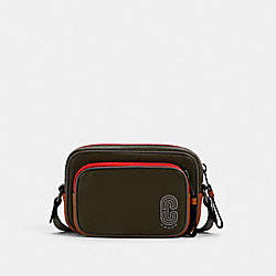 COACH 5798 Mini Edge Double Pouch Crossbody In Colorblock With Coach Patch QB/OLIVE DRAB MULTI