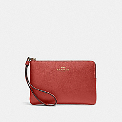 COACH 58032 Corner Zip Wristlet IM/METALLIC CLAY