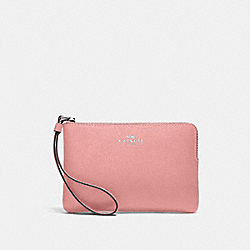 COACH 58032 Corner Zip Wristlet SV/LIGHT BLUSH