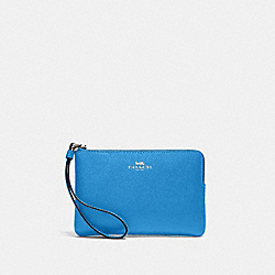 COACH 58032 Corner Zip Wristlet SV/VIVID BLUE