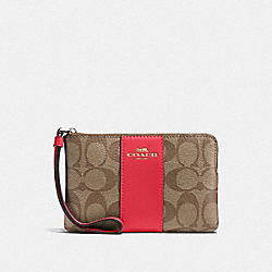 COACH 58035 Corner Zip Wristlet In Signature Canvas IM/KHAKI POPPY