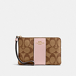 COACH 58035 Corner Zip Wristlet In Signature Canvas IM/KHAKI BLOSSOM