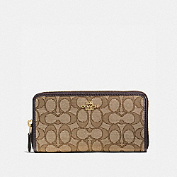 COACH 58058 - ACCORDION ZIP WALLET IN SIGNATURE JACQUARD KHAKI/BROWN/LIGHT GOLD