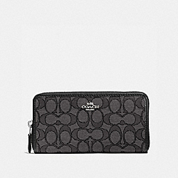 COACH 58058 - ACCORDION ZIP WALLET IN SIGNATURE JACQUARD BLACK SMOKE/BLACK/SILVER