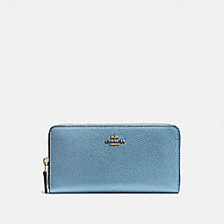 COACH 58059 Accordion Zip Wallet BRASS/PACIFIC BLUE