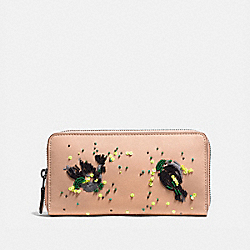 COACH 58182 - ACCORDION ZIP WALLET WITH MEADOWLARK NUDE PINK/BLACK COPPER