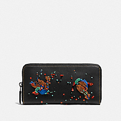 ACCORDION ZIP WALLET WITH MEADOWLARK - 58182 - BLACK/BLACK COPPER