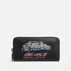 COACH 58183 - ACCORDION ZIP WALLET WITH CAR BLACK/BLACK COPPER