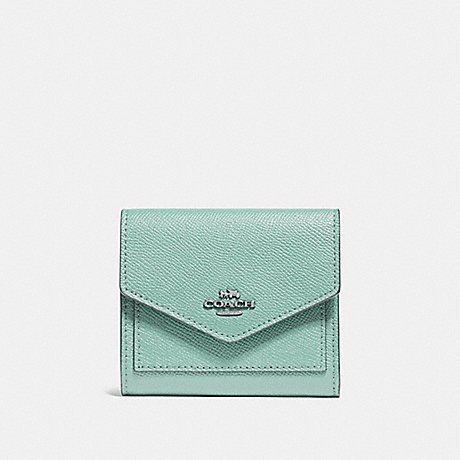 COACH 58298 SMALL WALLET LIGHT TEAL/SILVER