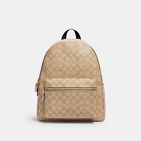 COACH 58314 CHARLIE BACKPACK IN SIGNATURE CANVAS IM/LIGHT-KHAKI-BLOSSOM