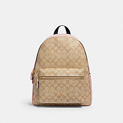 CHARLIE BACKPACK IN SIGNATURE CANVAS - 58314 - IM/LIGHT KHAKI BLOSSOM