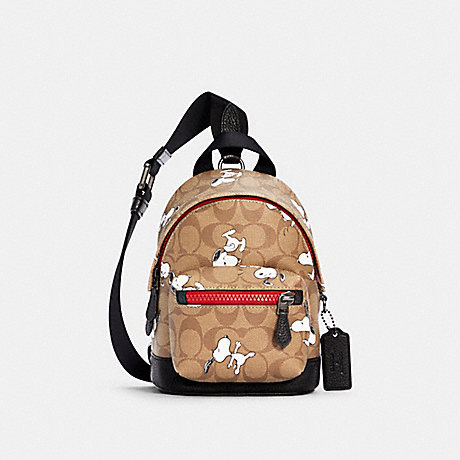 COACH 5840 COACH X PEANUTS SMALL WEST BACKPACK CROSSBODY IN SIGNATURE CANVAS WITH SNOOPY PRINT QB/KHAKI MULTI