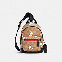 COACH X PEANUTS SMALL WEST BACKPACK CROSSBODY IN SIGNATURE CANVAS WITH SNOOPY PRINT - 5840 - QB/KHAKI MULTI