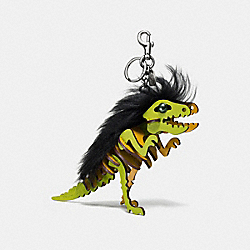 COACH 58498 Medium Mohawk Rexy Bag Charm BK/CITRINE BLACK