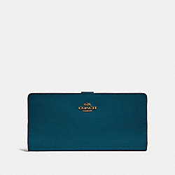 COACH 58586 Skinny Wallet PEACOCK/GOLD