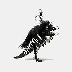 LARGE WILD REXY BAG CHARM - 58598 - BLACK/SOFT WHITE