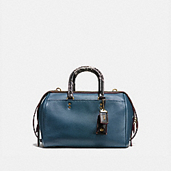 ROGUE SATCHEL IN GLOVETANNED PEBBLE LEATHER WITH PATCHWORK SNAKE HANDLE - 58690 - OL/DARK DENIM