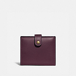 SMALL TRIFOLD WALLET - 58851 - PLUM/BRASS
