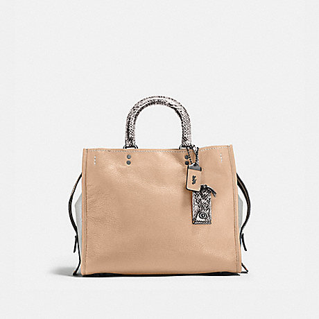 COACH 58966 ROGUE WITH COLORBLOCK SNAKESKIN DETAIL BP/BEECHWOOD