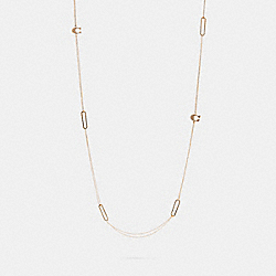 COACH 5945 Pave Signature Long Necklace GOLD