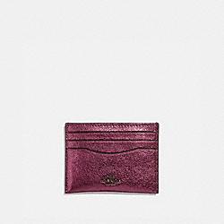 COACH 59462 - CARD CASE METALLIC BERRY/GUNMETAL