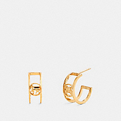 COACH 5969 Horse And Carriage Huggie Earrings GOLD