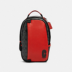 COACH 598 Edge Pack In Colorblock Signature Canvas QB/SPORT RED CHARCOAL