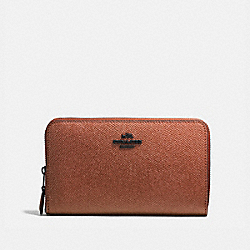 COACH 59968 Medium Zip Around Wallet METALLIC RUST/MATTE BLACK