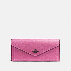COACH 59970 Soft Wallet DARK GUNMETAL/METALLIC BLUSH