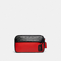 COACH 599 Edge Belt Bag In Colorblock Signature Canvas QB/SPORT RED CHARCOAL