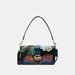 GEORGIE SHOULDER BAG IN SIGNATURE CANVAS WITH KAFFE FASSETT PRINT - 6020 - IM/BLACK GREEN MULTI/KHAKI