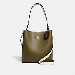 COACH 6023 Town Bucket Bag In Colorblock QB/KELP MULTI BLACK