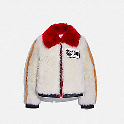 COACH 6039 Disney Mickey Mouse X Keith Haring Shearling Jacket CREAM